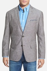 Wallin And Bros Trim Fit Cotton And Linen Blazer Brown