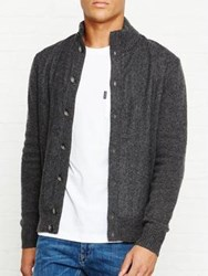 Hackett Tweed Front Cardi Charcoal