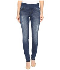 Jag Jeans Nora Pull On Skinny Comfort Denim In Durango W Holes Durange Holes Women's Blue