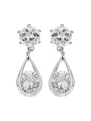 Mikey Crystal Bead Dangling Drop Earring White