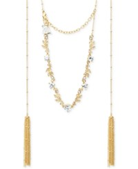 Lonna And Lilly Gold Tone Crystal Vine Tassel Choker Necklace