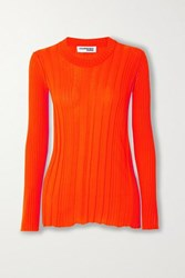 Courreges Ribbed Cotton Sweater Orange