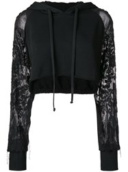 Amen Cropped Hoodie With Embroidered Sheer Sleeves Black