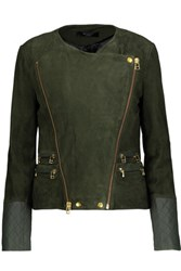 Muubaa Gloster Leather Trimmed Suede Biker Jacket Army Green