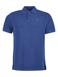 Barbour Short Sleeve Cotton Sports Polo Shirt Navy