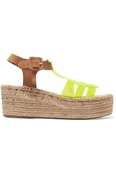 Paloma Barcelo Neon Yellow And Suede Espadrille Wedge Sandals It36