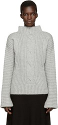 Cedric Charlier Grey Cable Knit Turtleneck