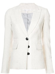 Veronica Beard Single Breasted Blazer Acrylic Polyester Spandex Elastane Wool Nude Neutrals