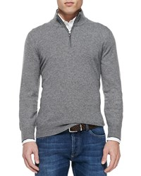 Brunello Cucinelli Cashmere Half Zip Sweater Gray Grey