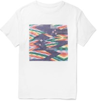 The Elder Statesman Oversized Printed Cashmere And Silk Blend T Shirt White