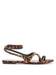 Saint Laurent Gia Leopard Print Calf Hair Sandals Leopard