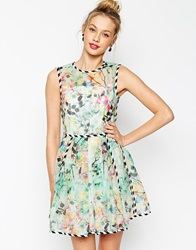 Asos Organza Prom With Contrast Piping Multi