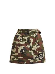 Miu Miu Camouflage Print Cotton Blend Mini Skirt Green Multi