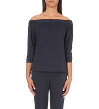 Warehouse Cotton Off The Shoulder Top Navy