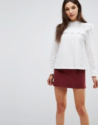 Liquorish Long Sleeve Lace Top White