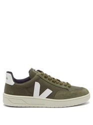 Veja V 12 Suede And Mesh Low Top Trainers Green