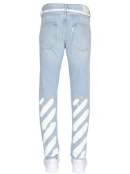 Off White Slim Fit Spray Stripes Denim Jeans