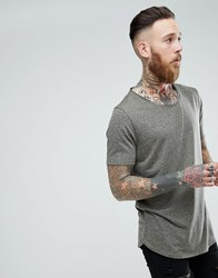 Asos Design Relaxed Longline T Shirt With Raw Scoop Neck And Curve Hem In Linen Mix In Khaki Green
