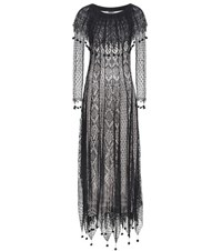 Alexander Mcqueen Pom Pom Silk Lace Dress Black