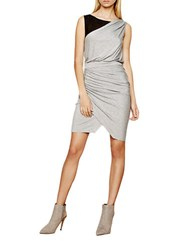 Autograph Addison Colorblock Gathered Pleat Dress Grey