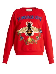 Gucci Bee And Floral Applique Cotton Sweatshirt Red