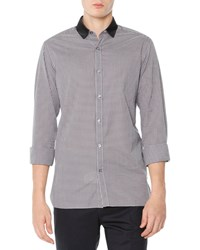 Lanvin Small Gingham Button Down Shirt Gray Back Grey Black