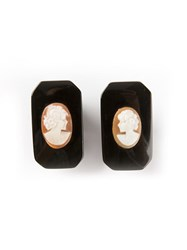 Katheleys Vintage Antique Cameo Earrings Black