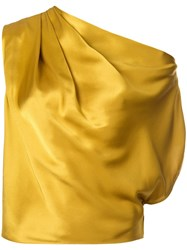 Michelle Mason Asymmetrical Drape Blouse Yellow