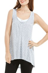 Vince Camuto Women's Two By Stripe Mixed Media Tunic Tank