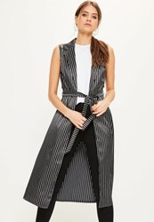 Missguided Black Sleeveless Satin Striped Tie Waist Duster Jacket