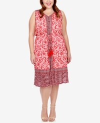 Lucky Brand Trendy Plus Size Printed Peasant Dress Red Multi