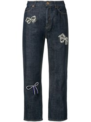 Max Mara Weekend Bow Cropped Jeans Blue