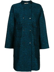 Odeeh Leopard Print Single Breasted Coat Blue