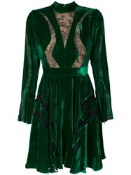 Elie Saab Cut Out Lace Skater Dress Silk Polyamide Rayon Green