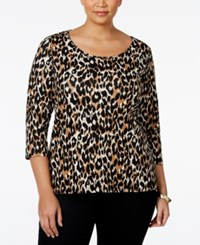 Charter Club Plus Size Animal Print Top Only At Macy's Deep Black