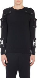 Hood By Air Intarsia 'Hba' Logo Button Patch Sweater Black Size M