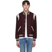 Saint Laurent Burgundy Teddy Bomber Jacket
