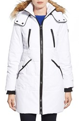 Women's Guess 'Expedition' Quilted Parka With Faux Fur Trim White