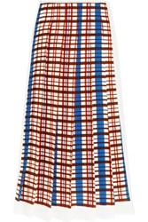 Victoria Beckham Pleated Checked Crepe Midi Skirt Cobalt Blue