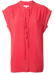 Michael Michael Kors Lace Up Neck T Shirt Red