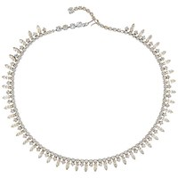 Susan Caplan Vintage Bridal 1960S Chrome Plated Austrian Crystal Necklace Silver