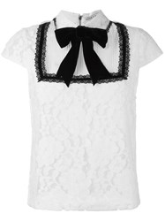 Alice Olivia Bow Tie Lace Blouse White