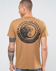 Friend Or Faux Hawk Eye Back Print T Shirt Brown