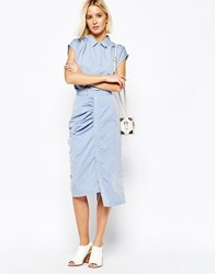 Gestuz Rouched Pencil Skirt With Button Front Denim Blue
