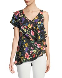 London Times Floral Asymmetric Tiered Blouse Multi Pattern