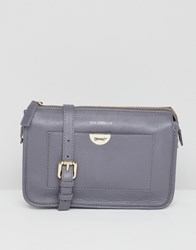 Paul Costelloe Real Leather Cross Body Bag With Logo Hardware Front Pocket Grey