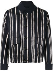 Cerruti 1881 Striped Print Jacket Blue