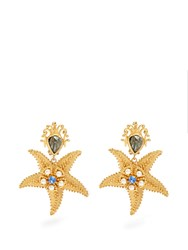 Dolce And Gabbana Starfish Embellished Clip On Earrings Gold