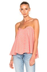 Caroline Constas Coco Bustier Top In Checkered And Plaid Orange Red White Checkered And Plaid Orange Red White