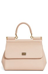Dolce And Gabbana 'Small Miss Sicily' Leather Satchel Beige Flesh Pink